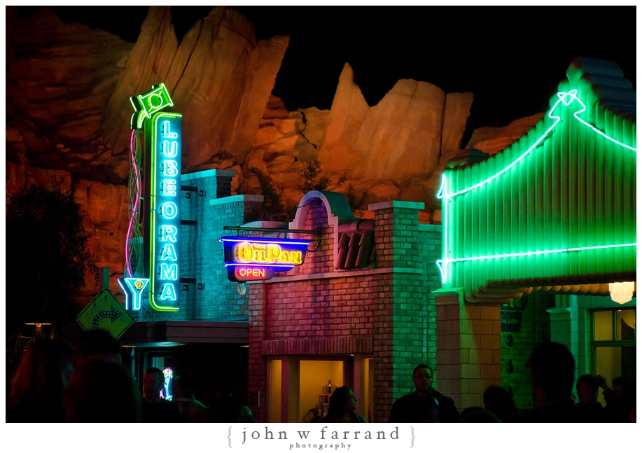 Nighttime Views from Route 66 - Cars Land