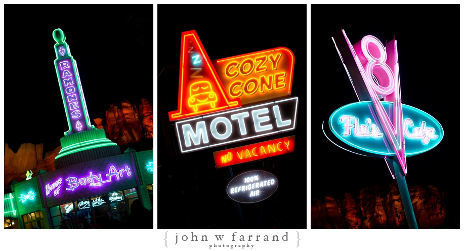 Route 66 Signs At Night - Cars Land