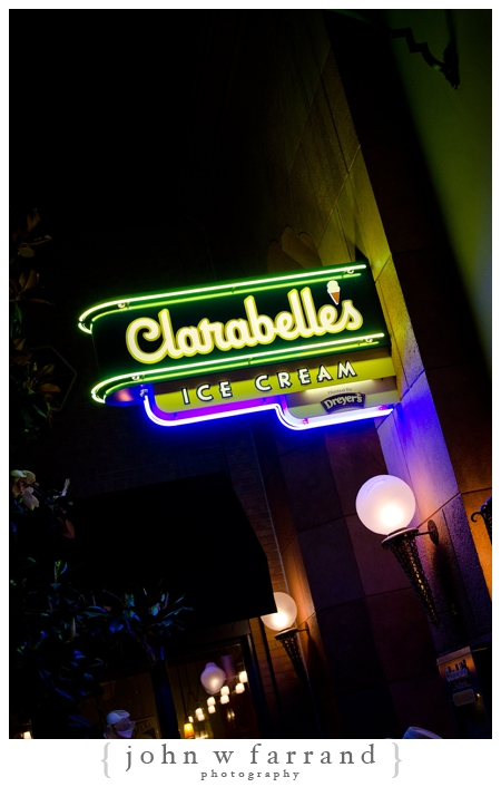 Clarabelle's Ice Cream Sign at Night - Buena Vista Street