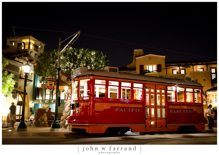 Red Car Trolley at Night - Buena Vista Street