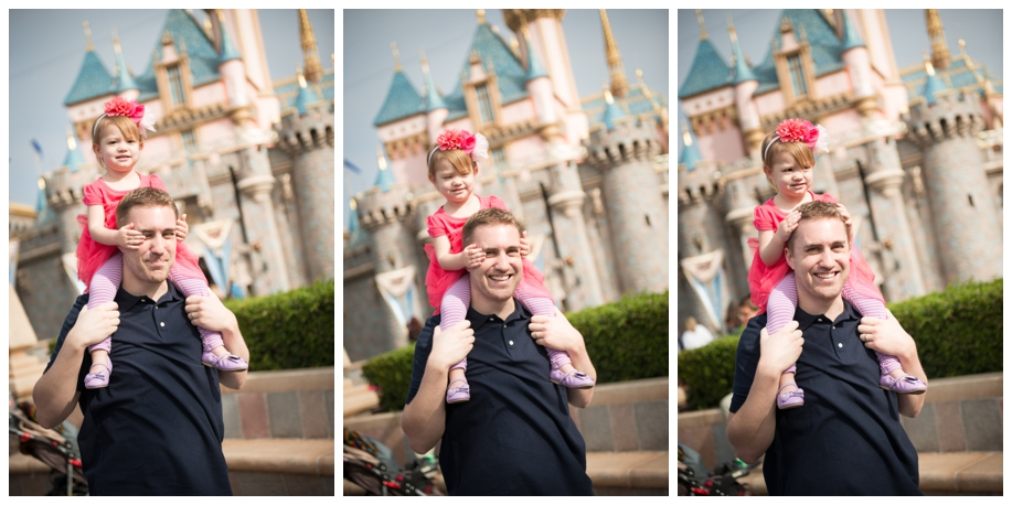 Disneyland Family Photos - On Dad's shoulders in front of Sleeping Beauty Castle.